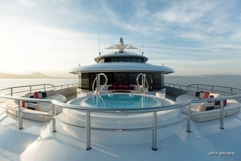 Main Master Balcony Including Jacuzzi Pool On Board Yacht EXCELLENCE V