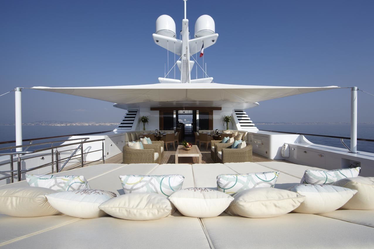 Sunbeds With Surrounding Cushions On Yacht LADY BRITT