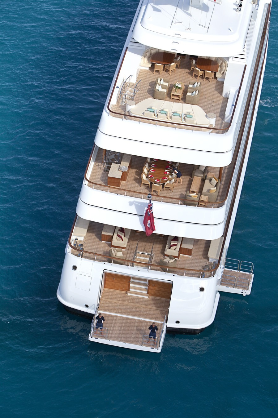 Aerial Aspect Of The Aft Deck Aboard Yacht LADY BRITT