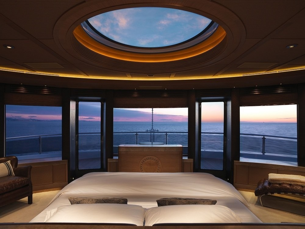 Extensive Aspect Sunset Dusk: Yacht NAIA's Main Master Cabin Pictured