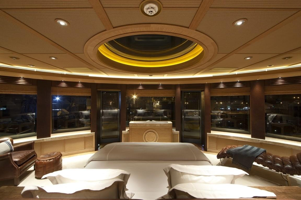 Extensive Aspect Evening: Yacht NAIA's Main Master Cabin Image