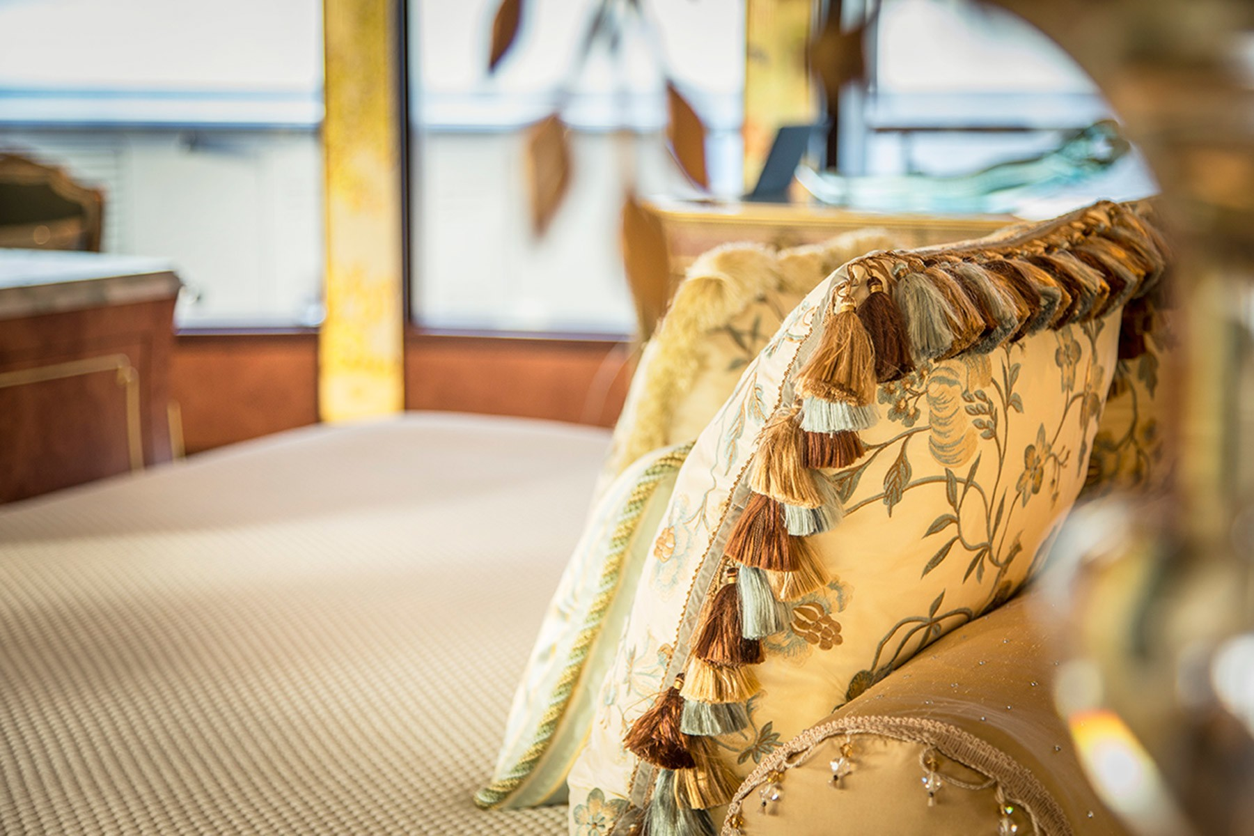 A Close Up Of The Cushions On Yacht SOLANDGE