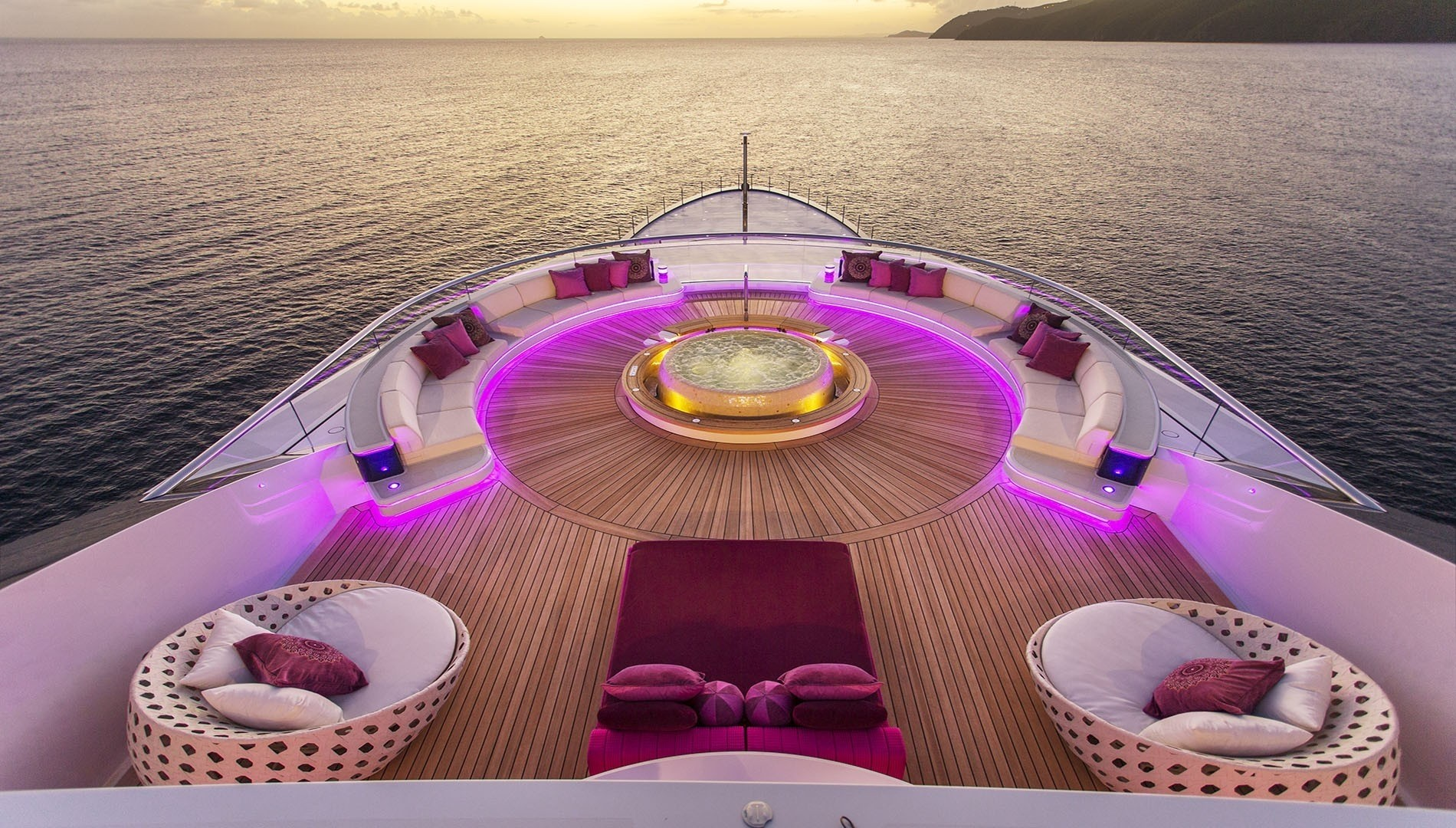 Jacuzzi Pool Upon The Aft Deck On Board Yacht SOLANDGE