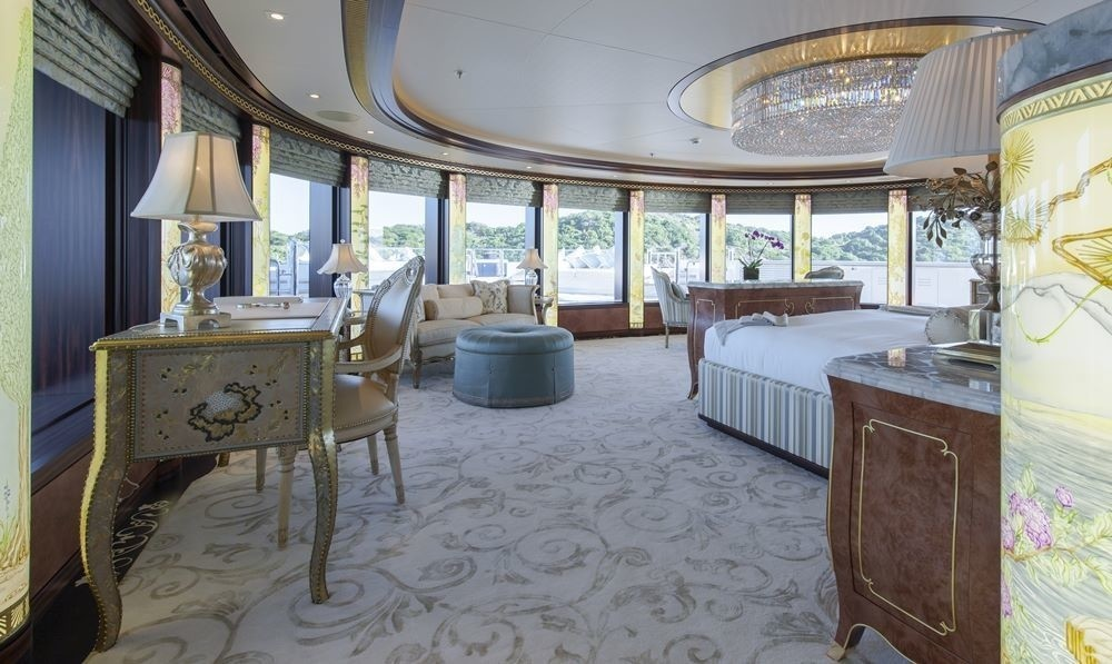 Main Master Suite With Surrounding Views On Board Yacht SOLANDGE