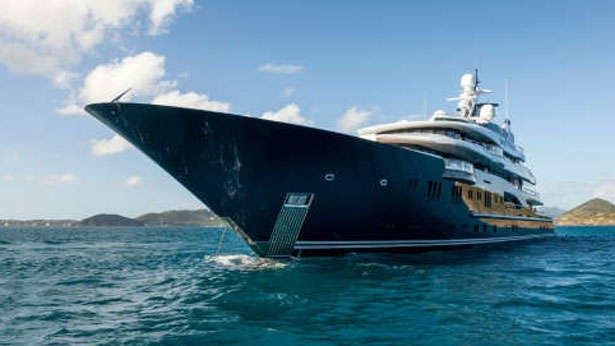 Anchorage Ship's Bow Aboard Yacht SOLANDGE