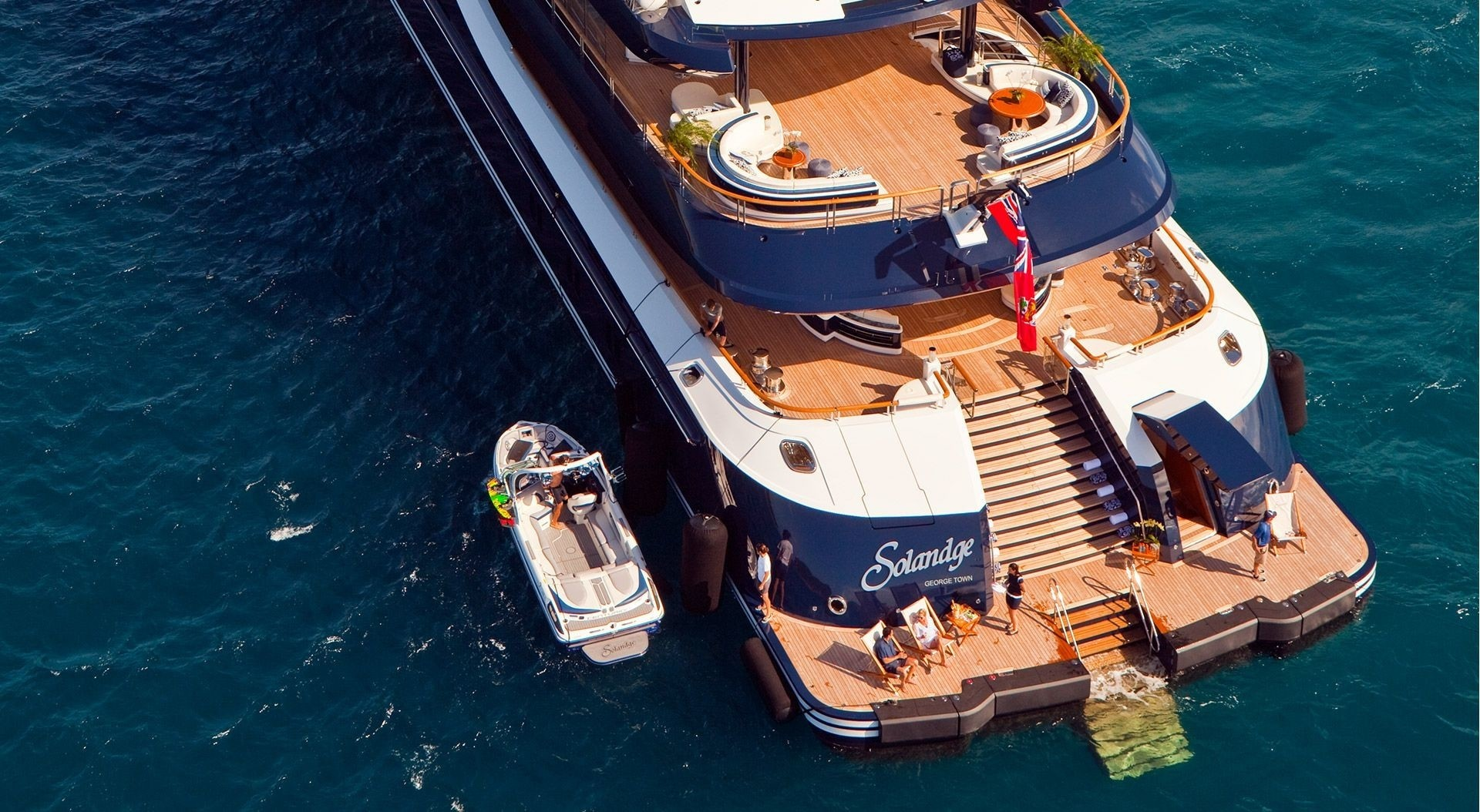 Aft Deck With Ship's Tender On Yacht SOLANDGE