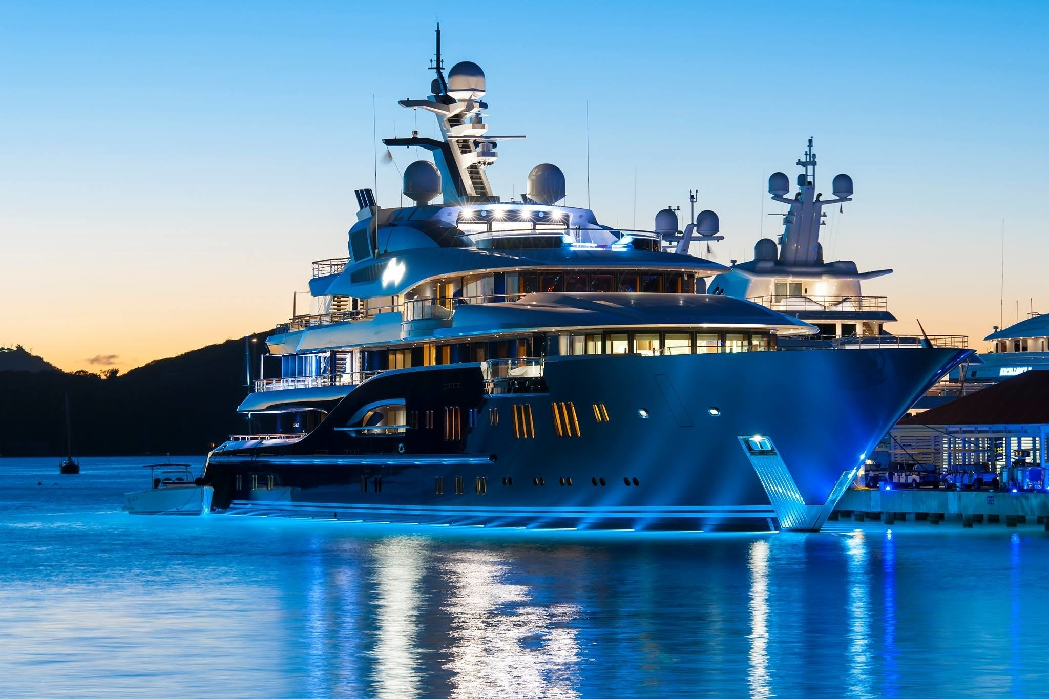 Berthed Evening On Yacht SOLANDGE