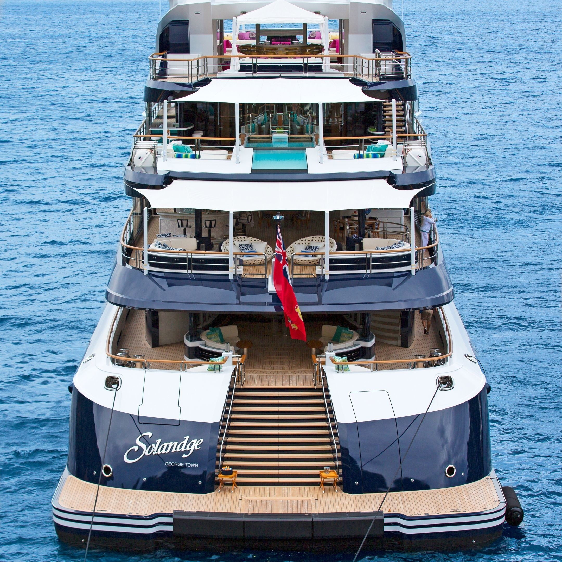 Aft Deck By Daytime On Board Yacht SOLANDGE