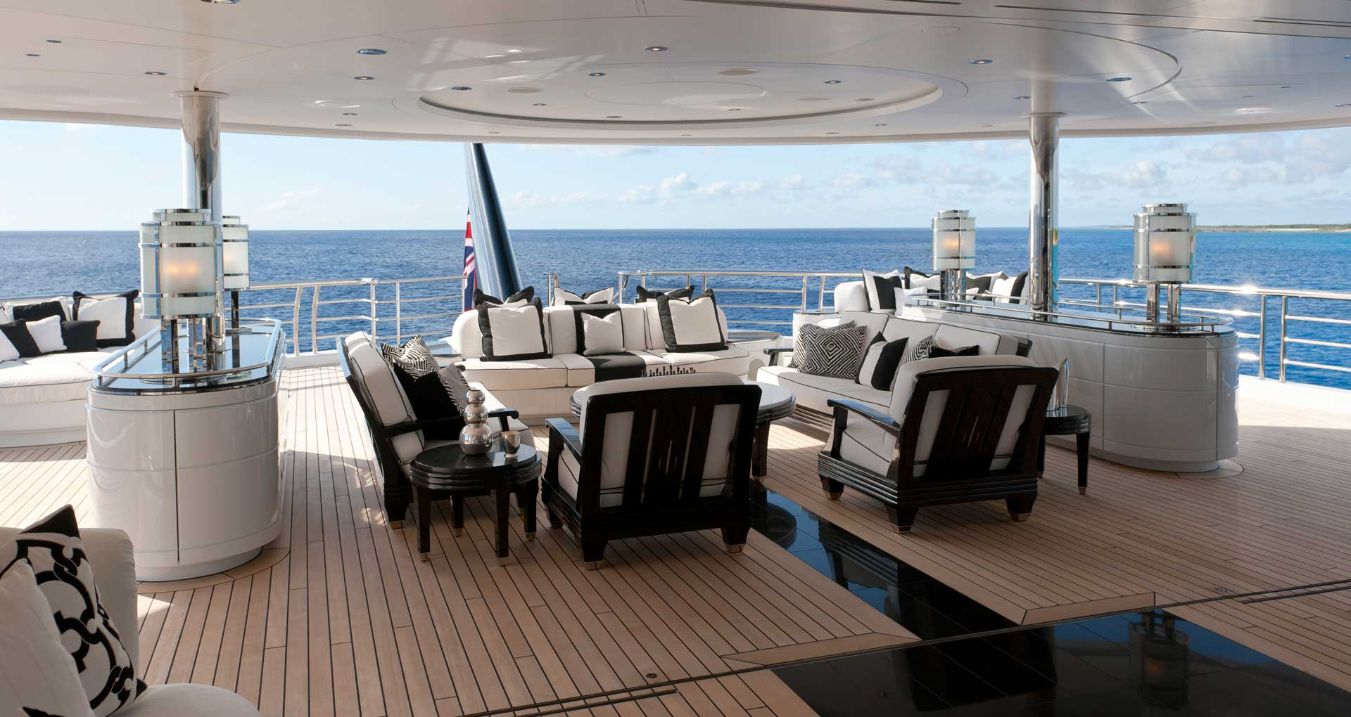Aft Deck With Comfortable Chairs And Sofas
