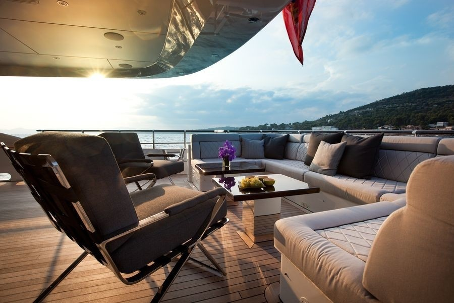 Night Time: Yacht AURELIA's Aft Deck Pictured