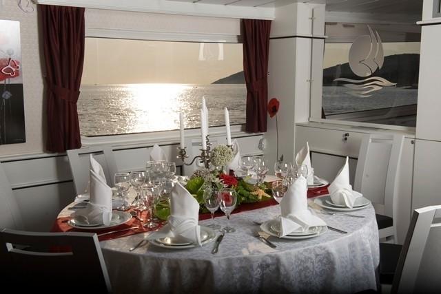 Sunset Dusk: Yacht LA PERLA's Saloon Captured