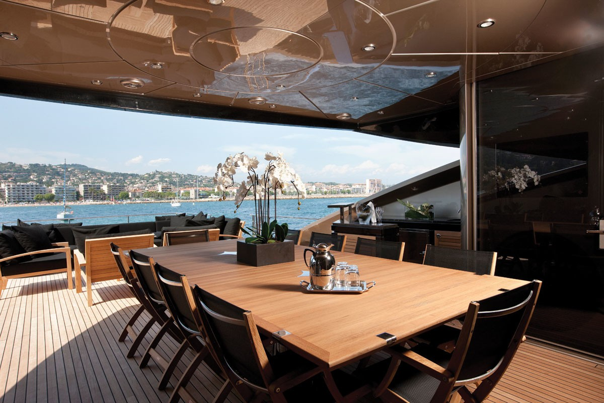 Aft Deck Eating/dining Aboard Yacht GRIFFIN