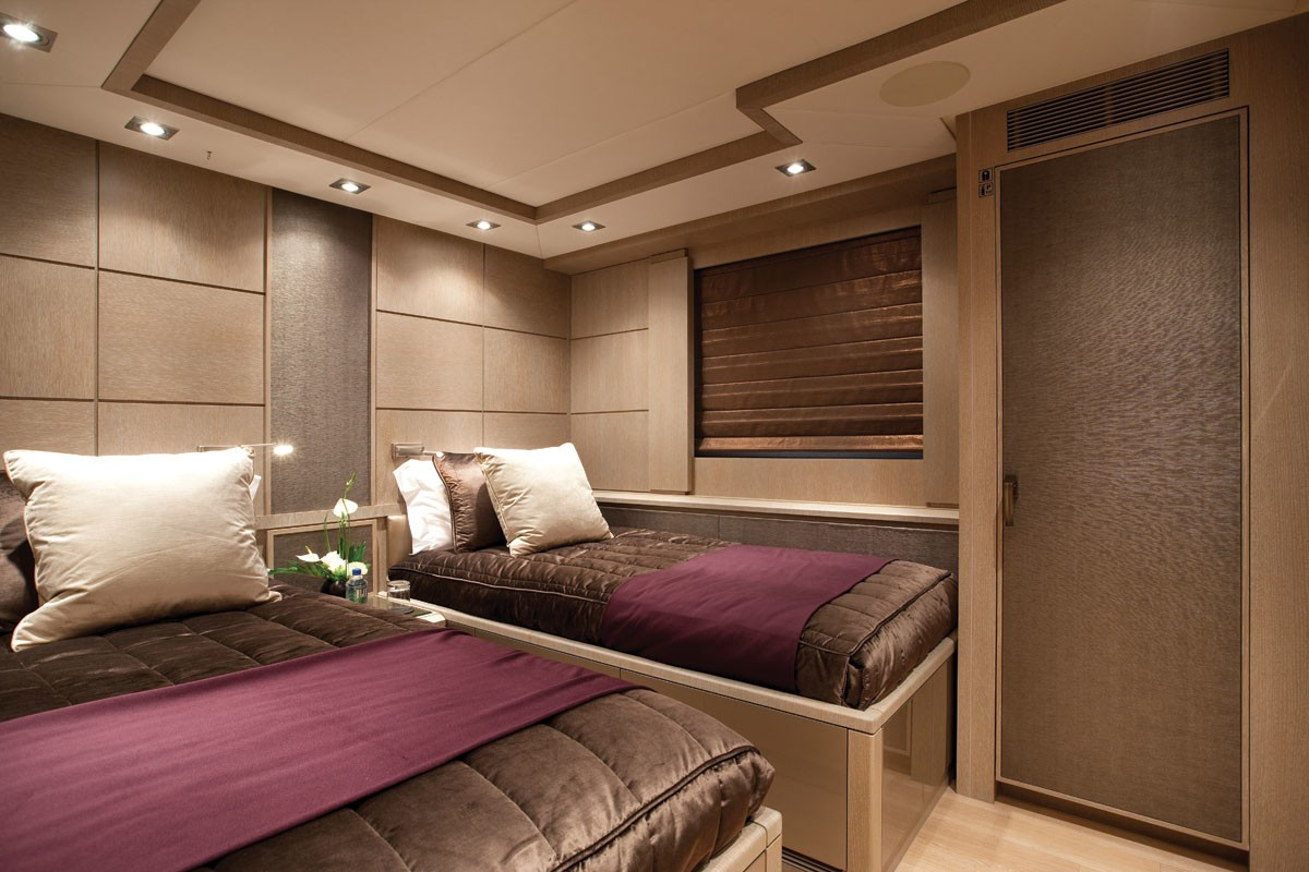 Purple Twin Bed Cabin Aboard Yacht GRIFFIN