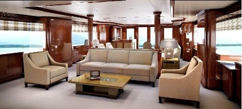 Premier Saloon Viewing Aft: Yacht CHECKMATE's Artist Rendering Photograph