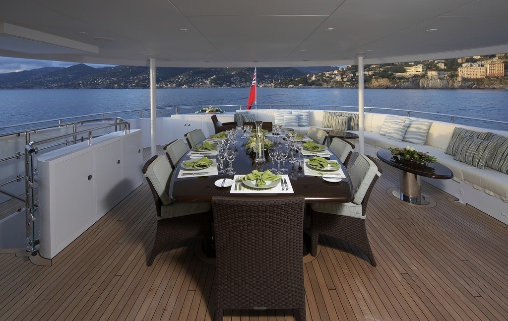 Top Deck Eating/dining On Yacht RAASTA