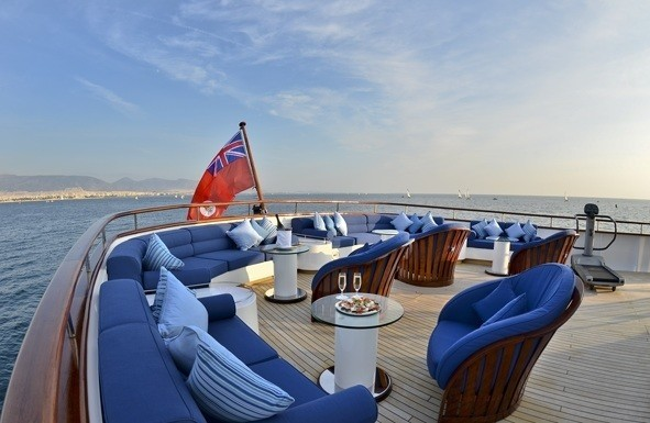 Top Deck Aft Sitting Aboard Yacht MESERRET II