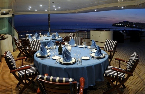 Top Deck Aft Eating/dining On Board Yacht MESERRET II