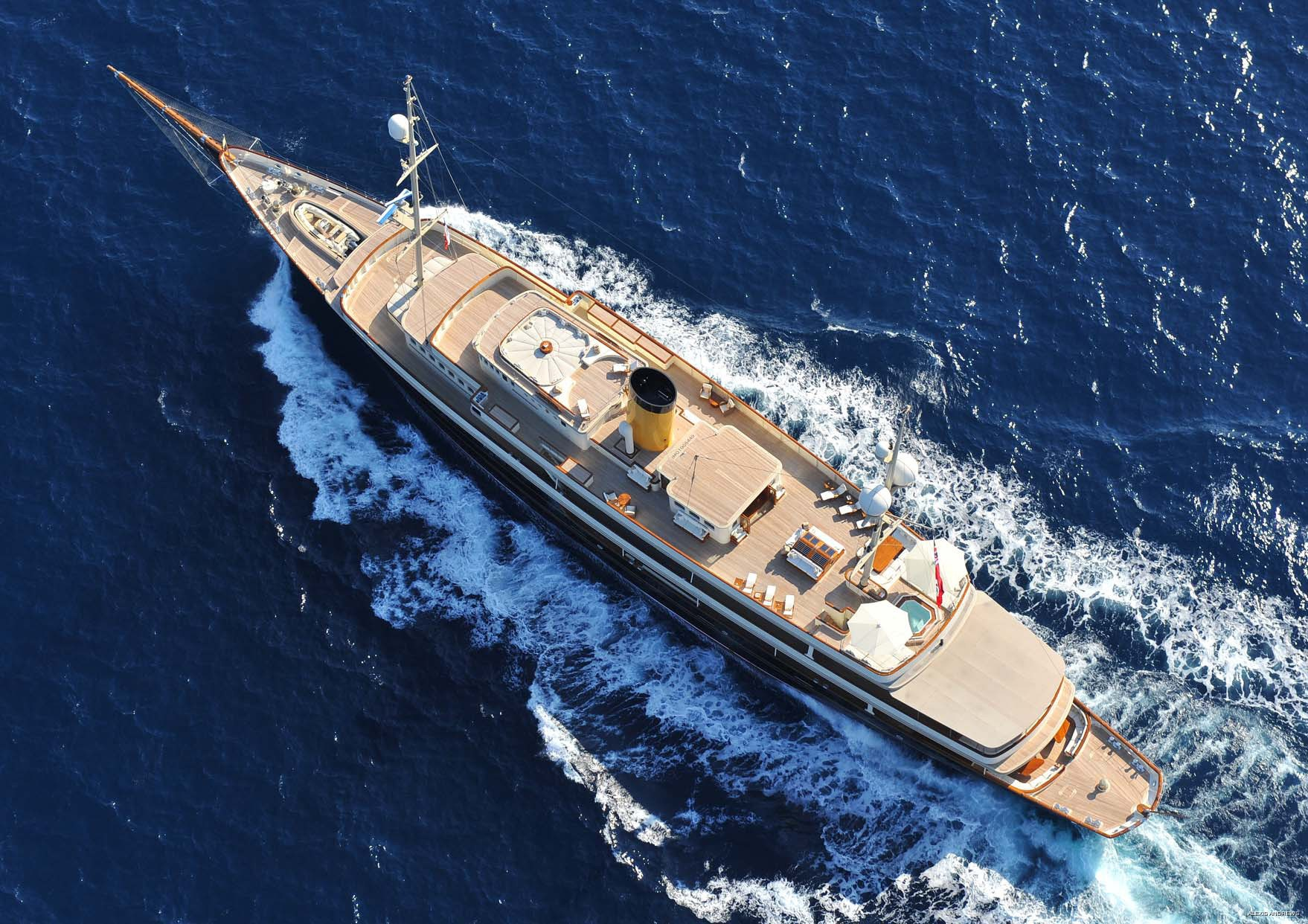 From Above Aspect: Yacht NERO's Cruising Photograph