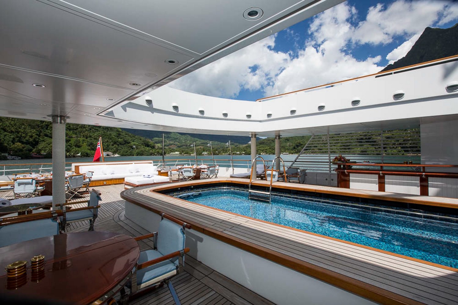 Massive Swimming Pool And Aft Deck With Bar And Seating