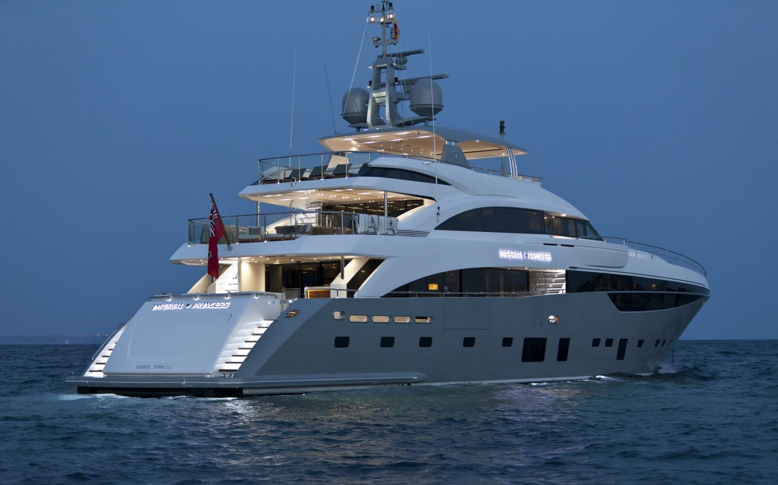 Motor Yacht IMPERIAL PRINCESS BEATRICE By Sunseeker - Aft Profile Anchored