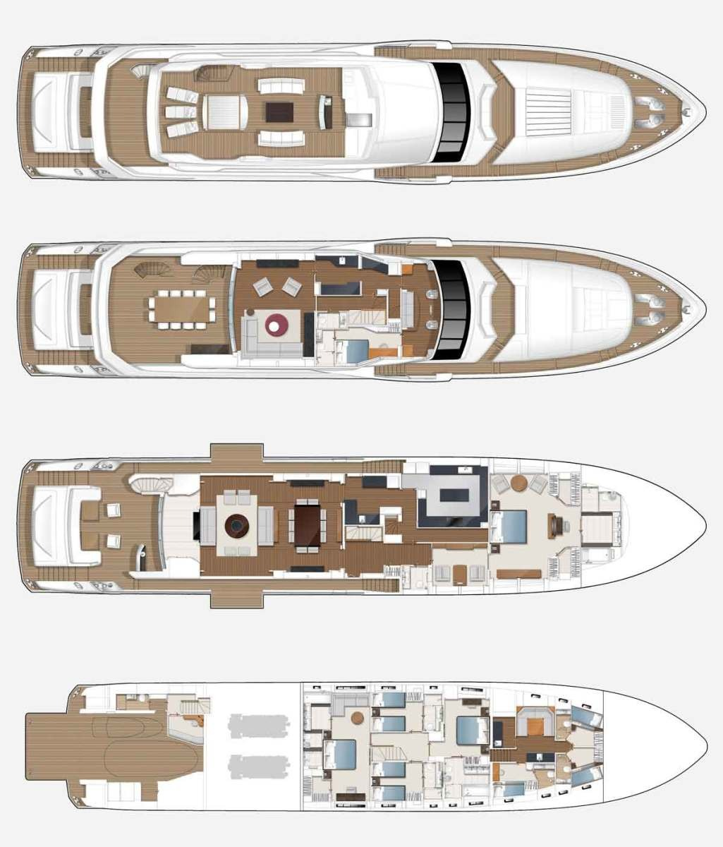 Motor Yacht IMPERIAL PRINCESS BEATRICE By Sunseeker - Layout General Arrangement