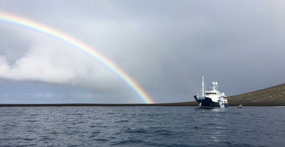 Superyacht With Rainbow