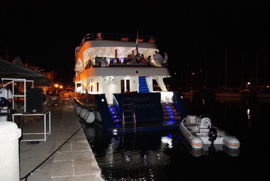 Royal Eleganza docked at night