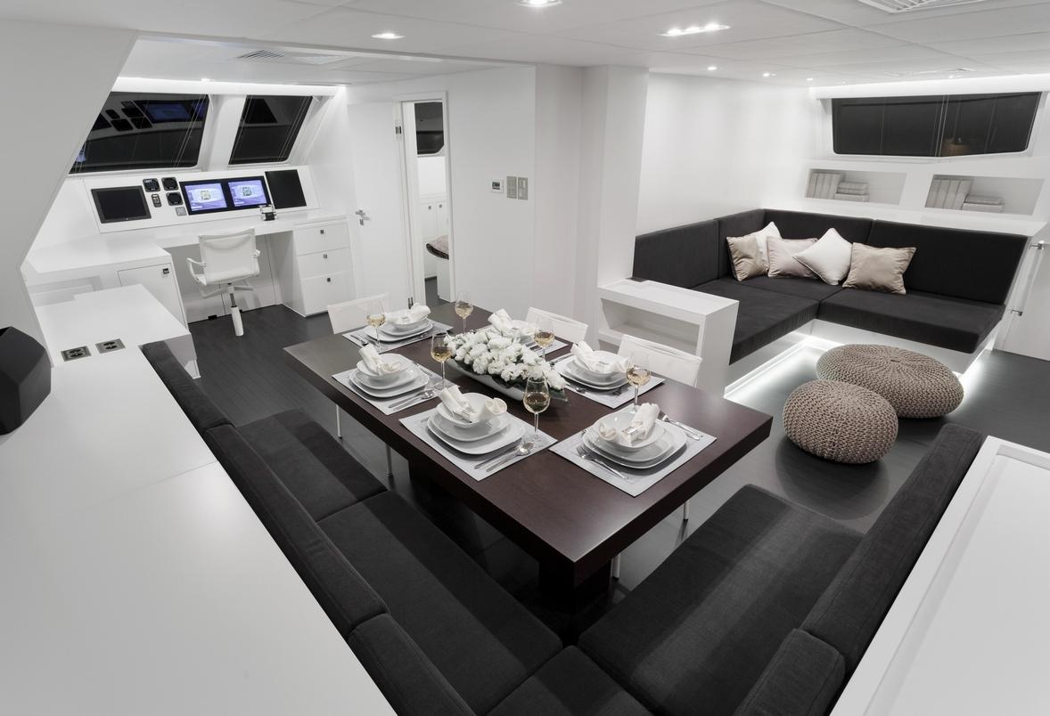 Sailing catamaran levante interior dining
