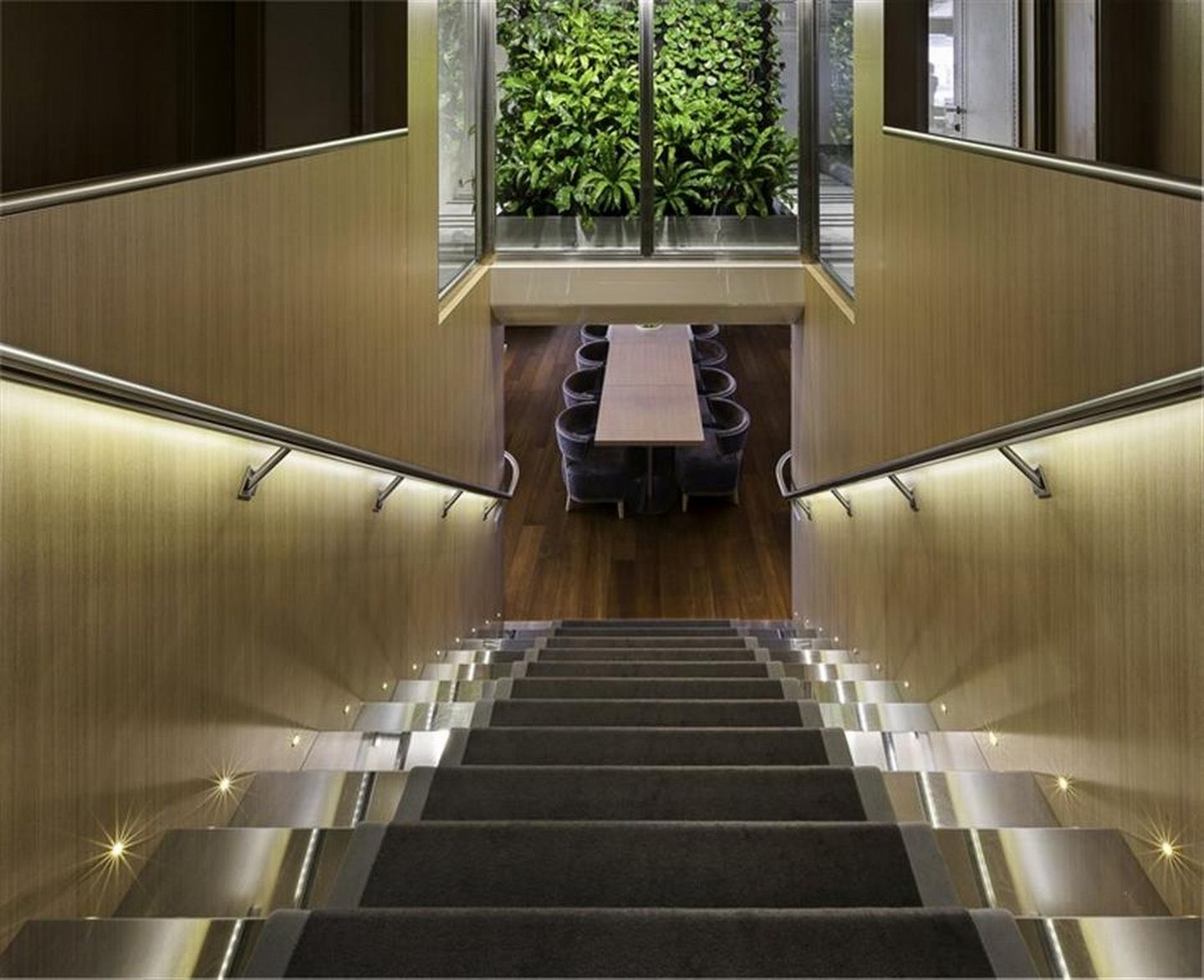 Stairs Down To Dining And Winter Garden
