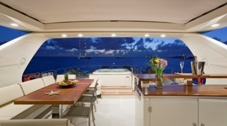 Evening: Yacht ANDREIKA's Sun Deck Pictured
