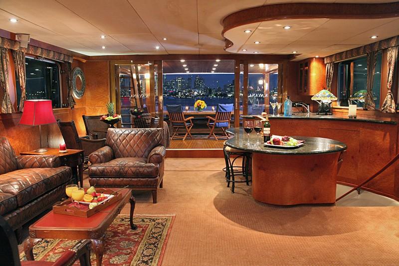 Saloon With Drinks Bar On Board Yacht KAYANA