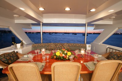 Aft Deck Eating/dining Aboard Yacht AGA 6