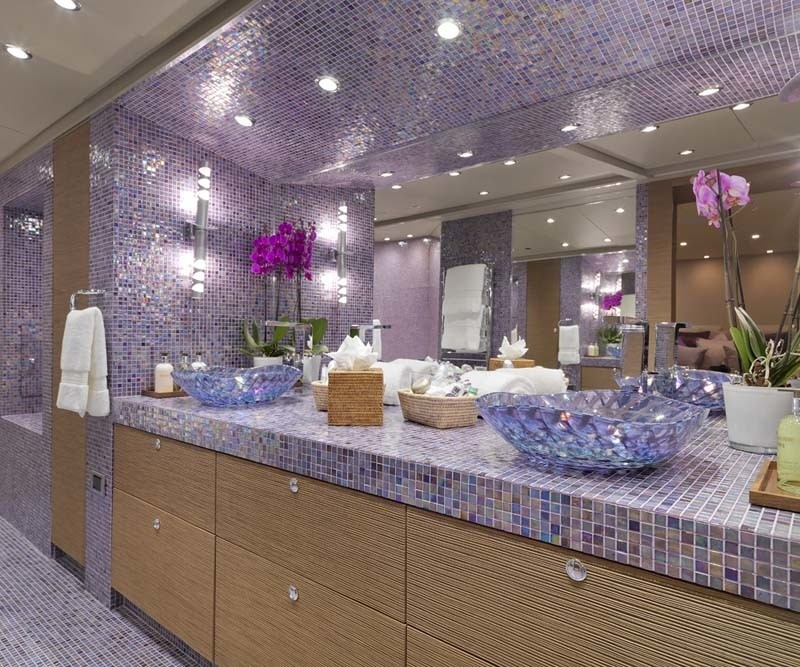 Close Up: Yacht SISTER ACT's Main Master Bath Pictured