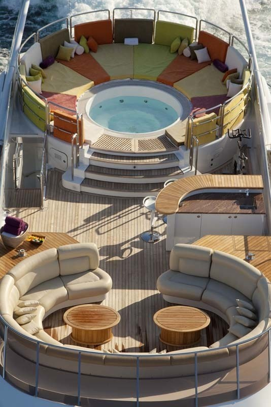 Jacuzzi Pool With Sitting: Yacht SISTER ACT's From Above Aspect Captured