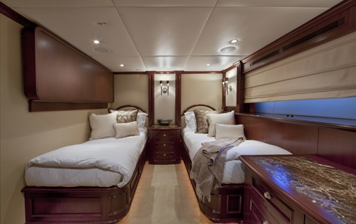 Twin Bed Cabin Including Pullman Bunk On Board Yacht COCKTAILS