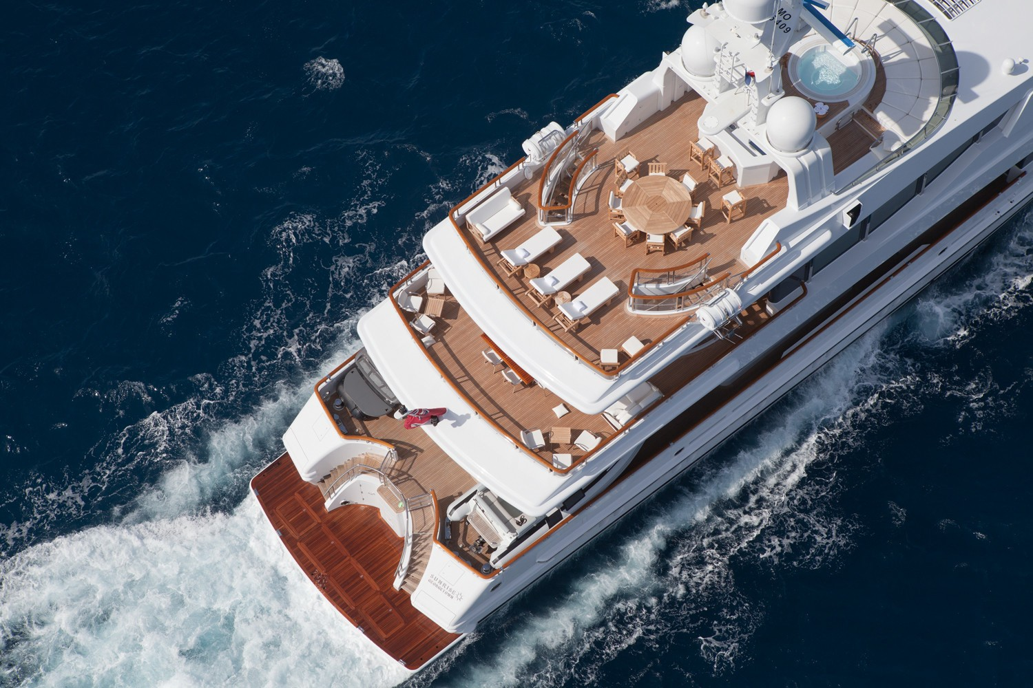 Cruising Aft From Above On Board Yacht SUNRISE