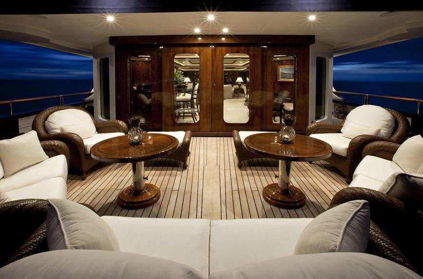 Evening: Yacht NOBLE HOUSE's Premier Aft Deck Captured