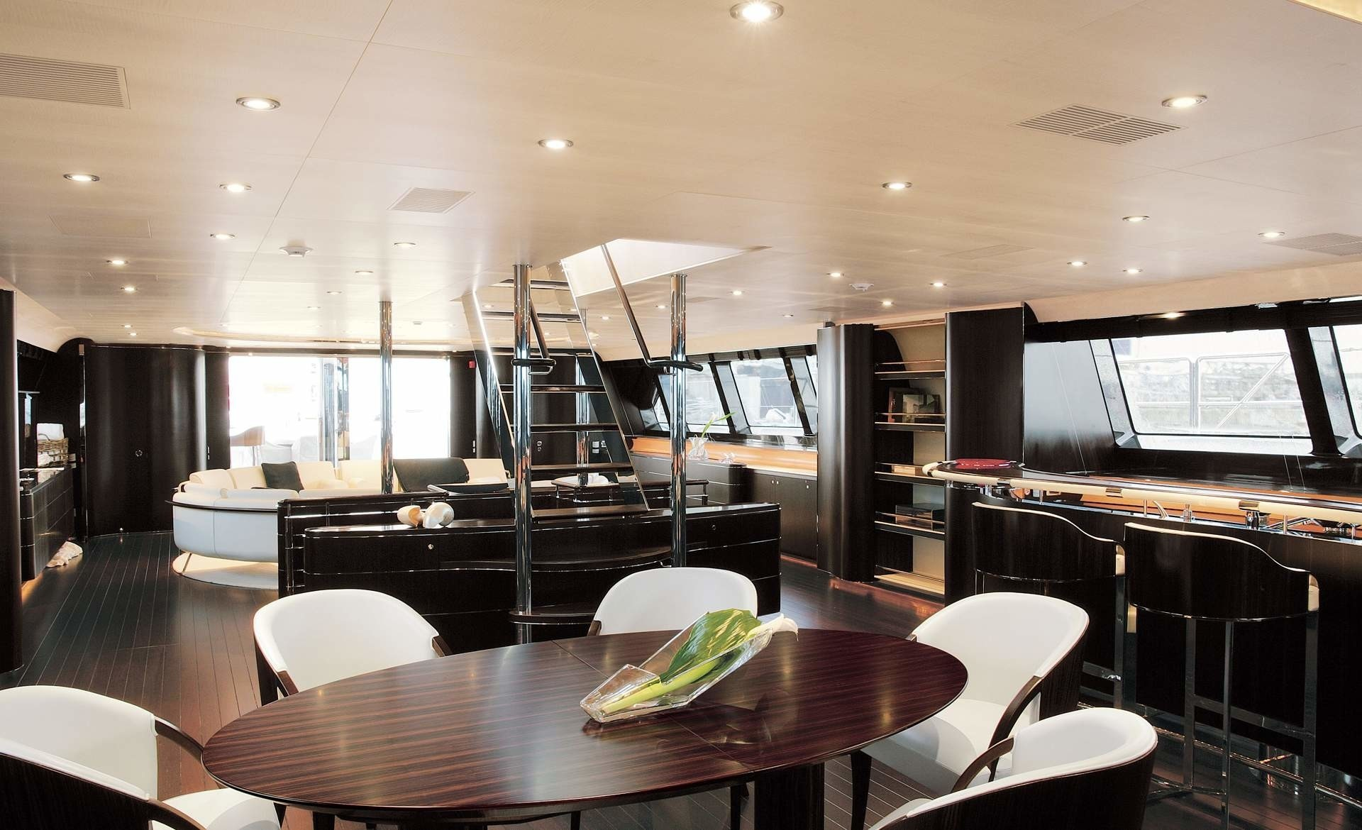 Staircase: Yacht PARSIFAL III's Saloon Photograph