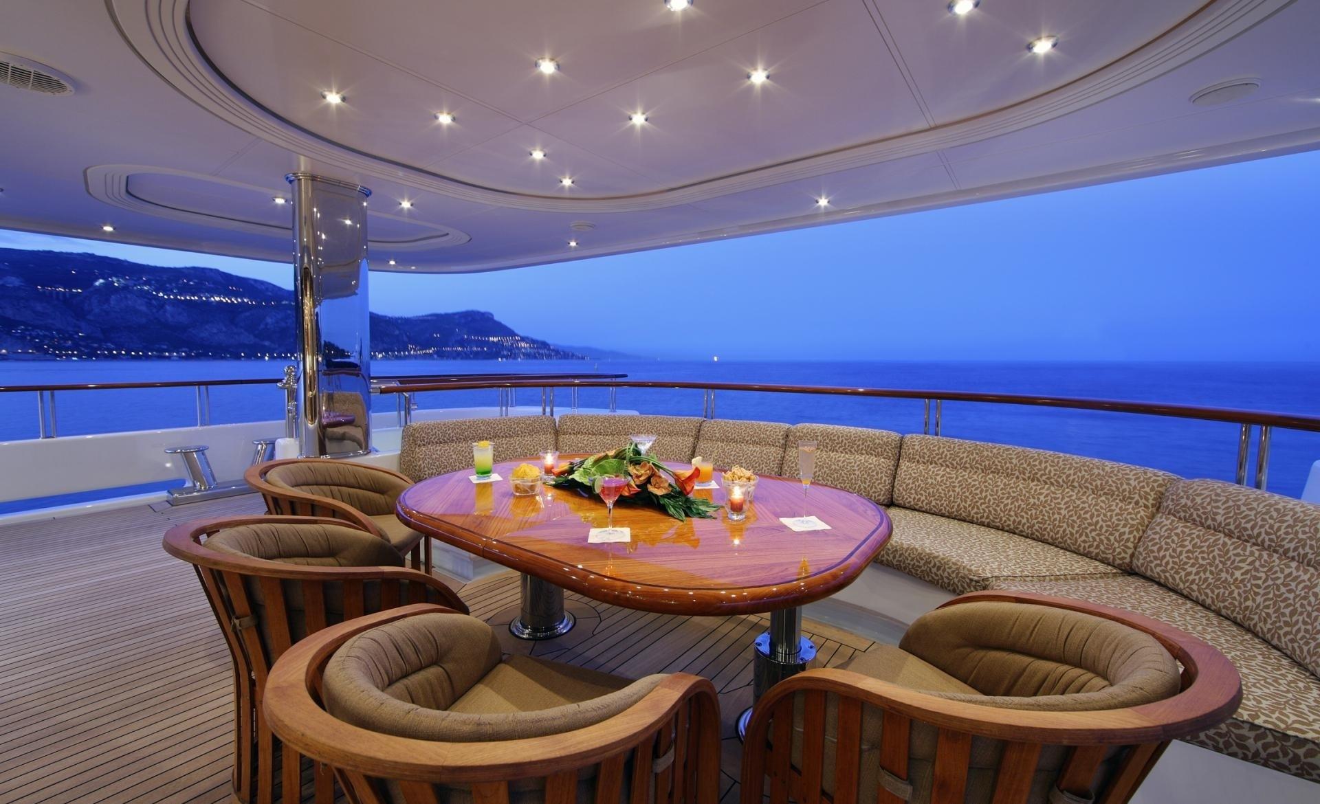 Evening: Yacht CAPRI's External Sitting Pictured