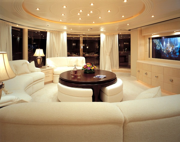 White Saloon Screening Aboard Yacht CAPRI