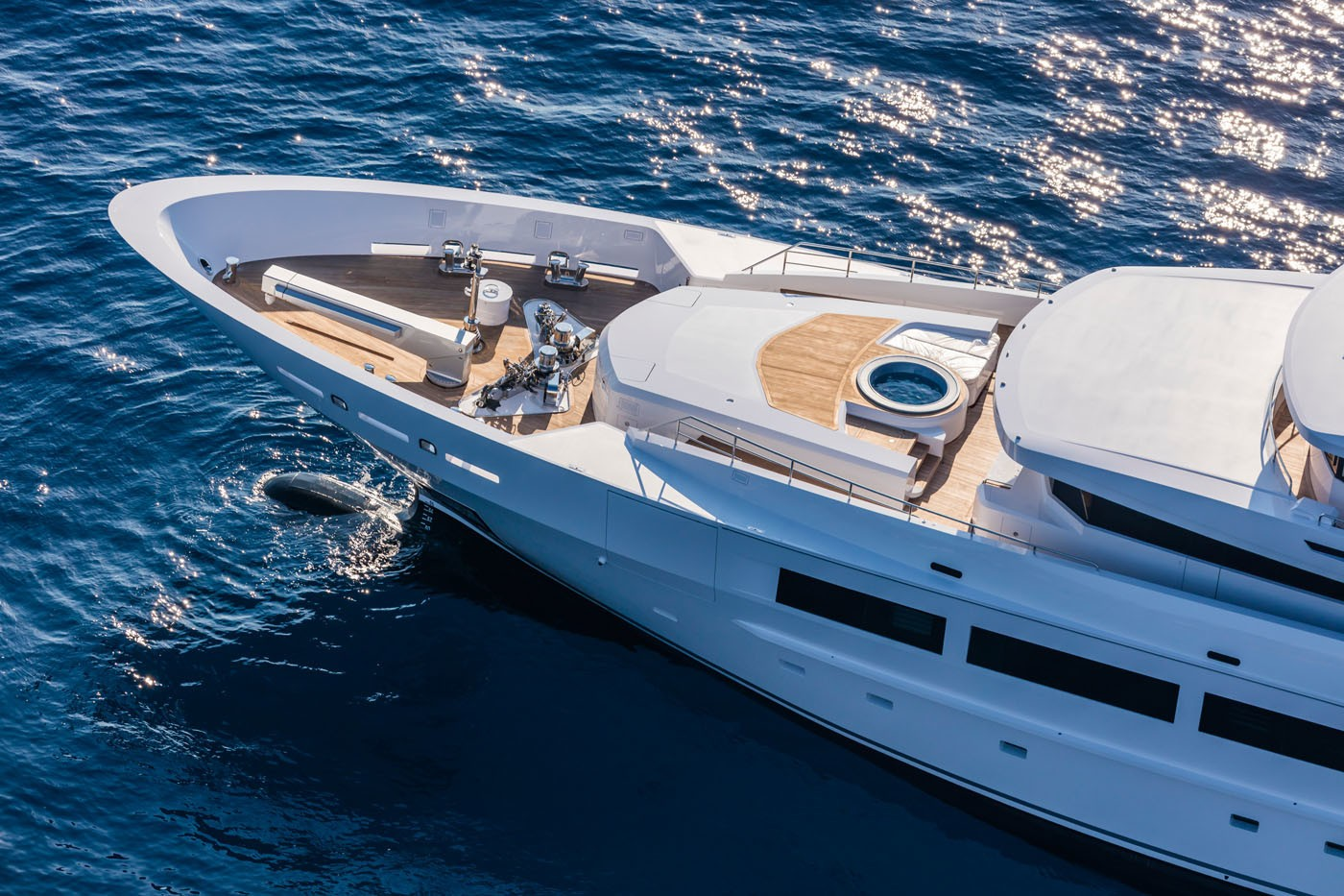 Jacuzzi Pool Upon Deck Fore Aboard Yacht SUERTE