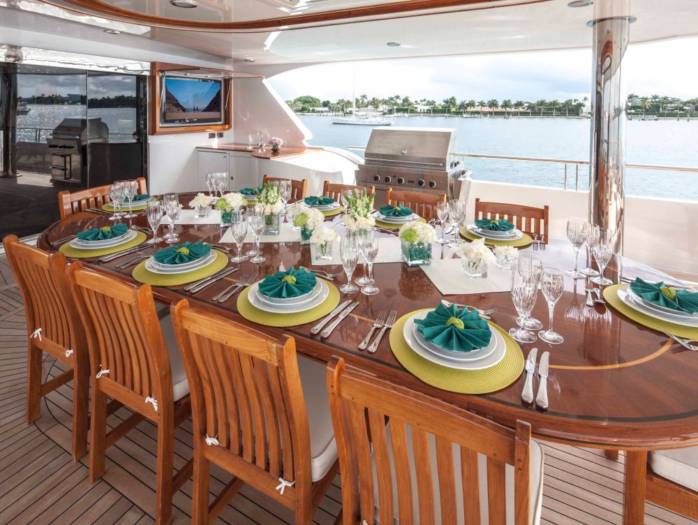 The Upper Aft Deck Is Perfectly Suited For Grand Family Barbeques Around A 10-seating Table