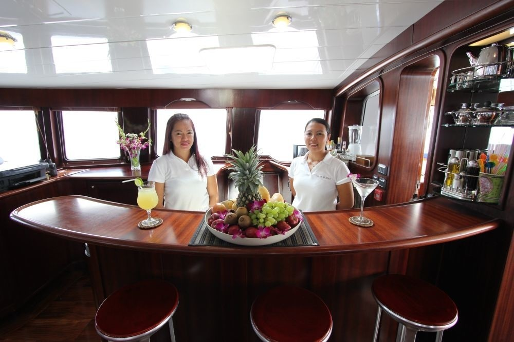 Saloon Drinks Bar With Crewmember's Aboard Yacht DOUCE FRANCE