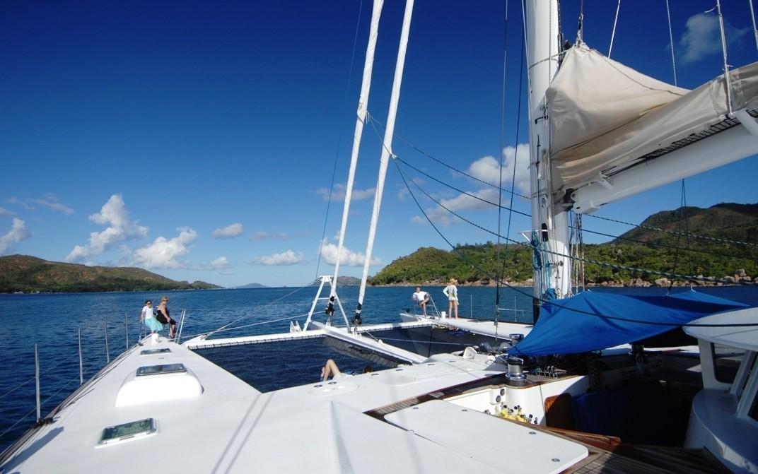 Ship's Bow On Board Yacht DOUCE FRANCE