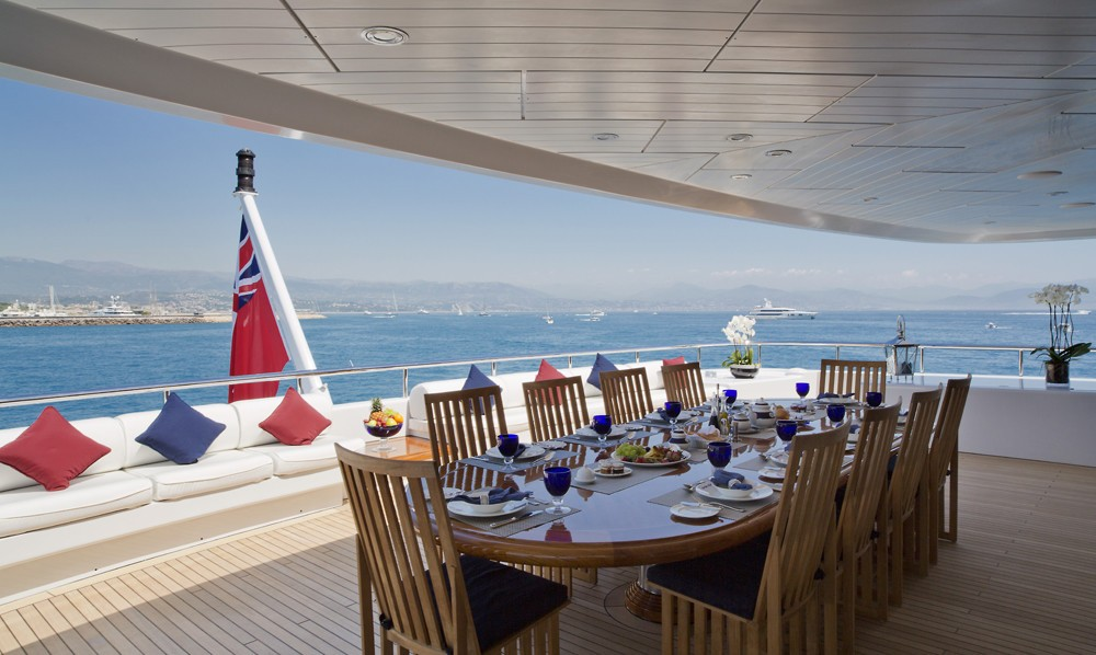 Top Deck Eating/dining Aboard Yacht SARAH