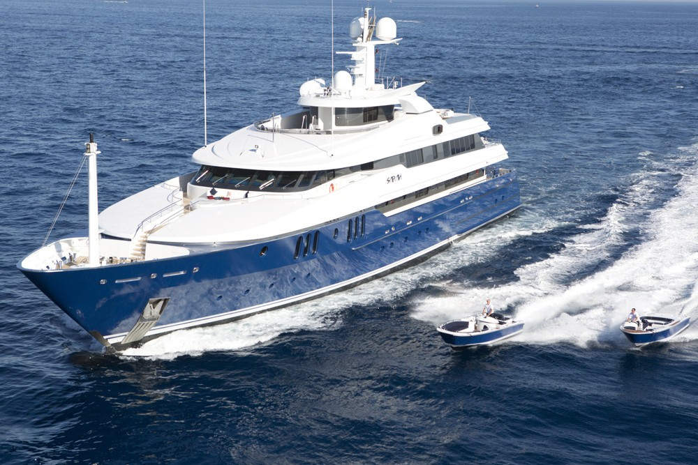 Overview With Ship's Tenders Aboard Yacht SARAH