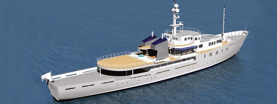 Computer Rendering Aft Aboard Yacht ENIGMA XK