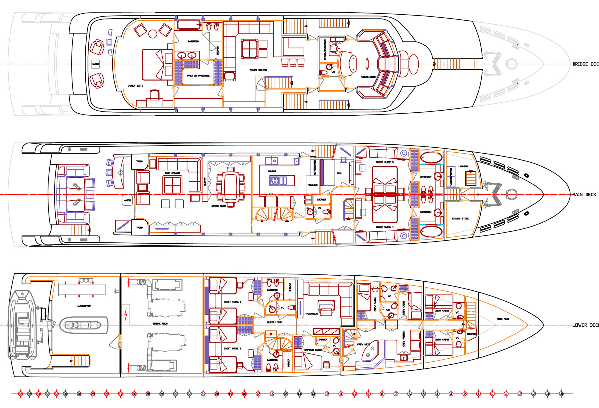 Plan Image Gallery - ANDA Main Deck Plan - Deck Plan – Luxury Yacht ...