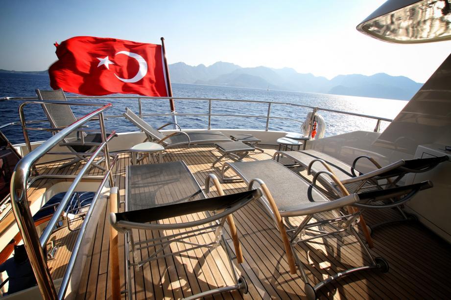 Sun loungers on deck