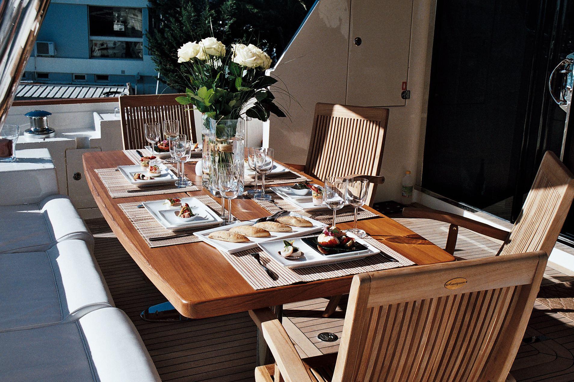 Aicon Yacht KRYS KAR - Aft Deck Alfresco Dining